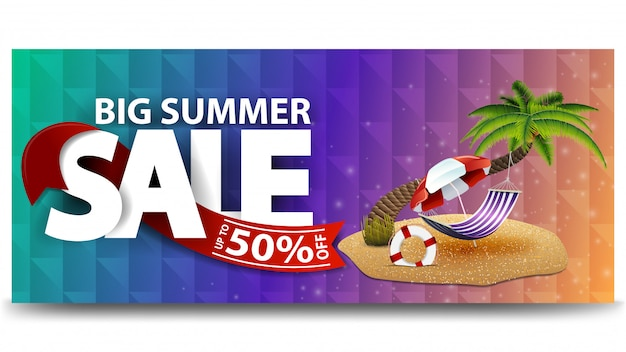 Big summer sale, horizontal discount web banner for your website