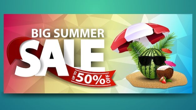 Big summer sale, horizontal web banner with polygonal texture