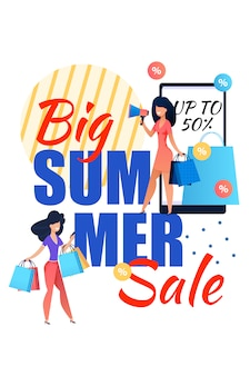 Big summer sale lettering flat poster for women