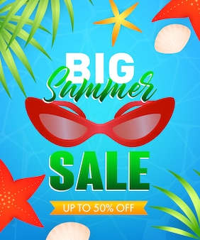 Big summer sale lettering with sunglasses, starfishes