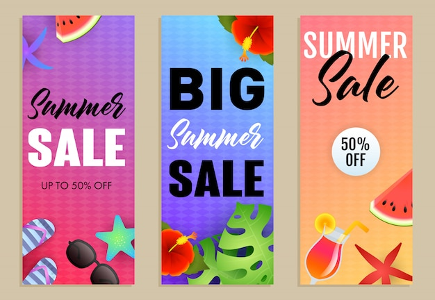 Big summer sale letterings set, exotic plants, cocktail