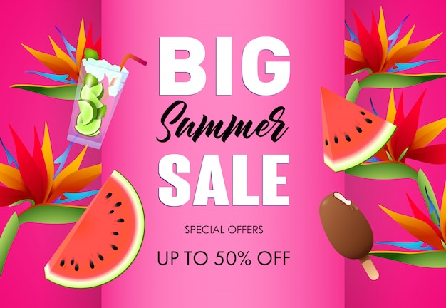 Big summer sale poster design. ice cream