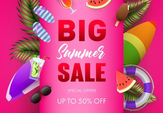 Big summer sale poster design. palm leaves, ice cream