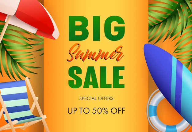 Big summer sale poster design. sun umbrella