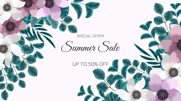 Big summer sale promo web banner beautiful editable floral background template with place for text