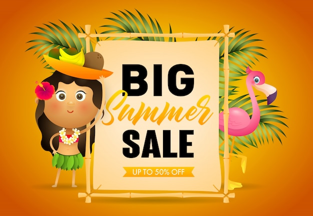Big summer sale retail poster. signboard