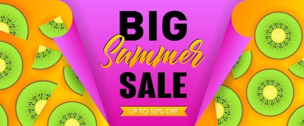 Big summer sale seasonal banner. 50 percent off ribbon