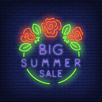 Big Summer Sale sign in neon style. illustration with violet text in green round frame
