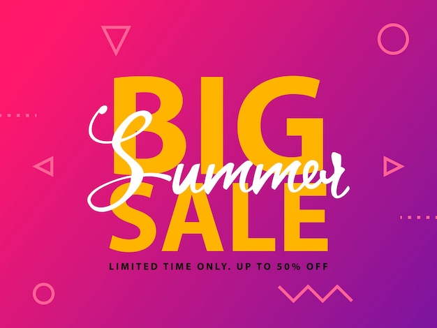 Big summer sale sign with ultraviolet background.  web banner template illustration.