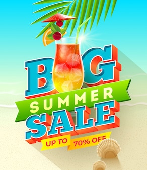 Big summer sale - summer vacation illustration with exotic cocktail glass.