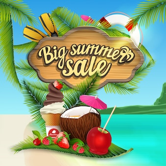 Big summer sale, web banner with wooden sign with sea decor
