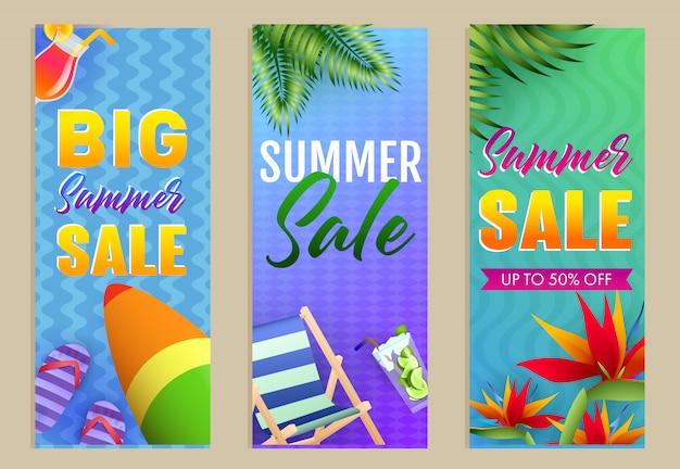 Набор надписей big summer sale, шезлонг и доска для серфинга