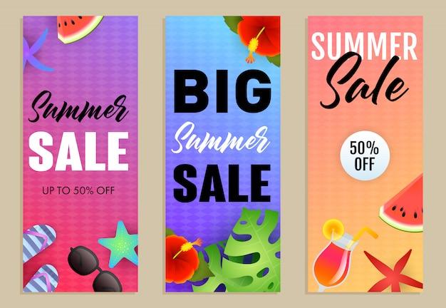 Набор надписей big summer sale, экзотические растения, коктейль