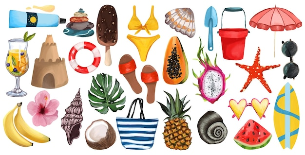 Big summer time set on an isolated white background tropical fruits beach shoes clothes bag