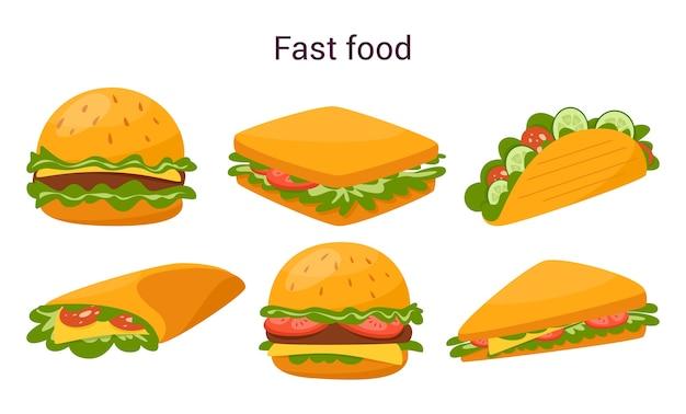 Большой вкусный гамбургер и бутерброд с сыром, помидорами и говядиной