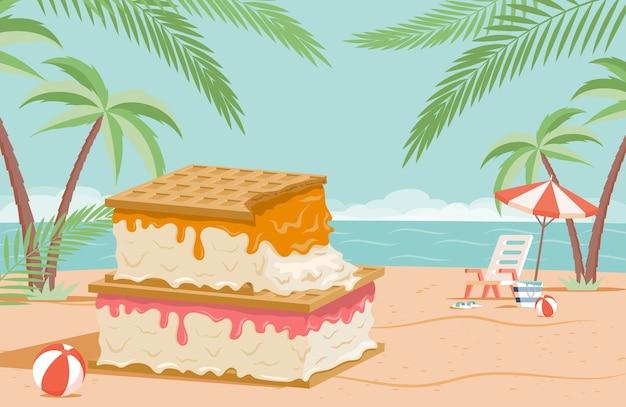 Big tasty ice cream with waffles on summer beach