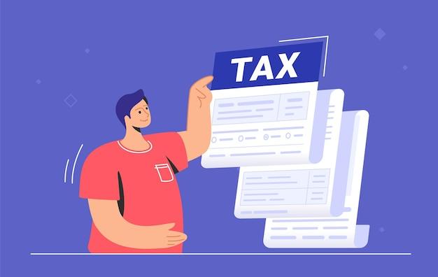 Большая налоговая форма или ежегодное уведомление о ежемесячных сборах и долге. плоские векторные иллюстрации симпатичного человека, стоящего возле большой налоговой формы и указывающего на общую сумму перед оплатой