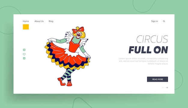 Big top circus clowness landing page template. woman clown character smile joker girl with crazy face wear dress and striped stockings
