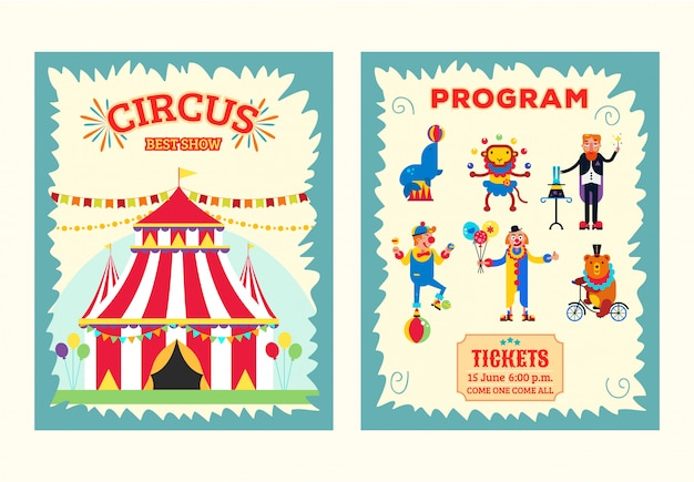 Big top circus entertainment show brochure, program, ticket  illustration. artists performers magician, clowns, wild animals monkey, bear and seal.