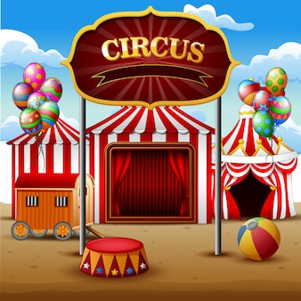 Big top circus tents white and red background