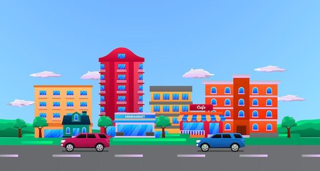비즈니스 건물이 있는 큰 도시 도시, 거리 도시 풍경 평면 일러스트레이션 개념이 있는 자동차