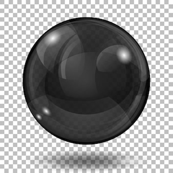 Big translucent black sphere with glares and shadow on transparent background