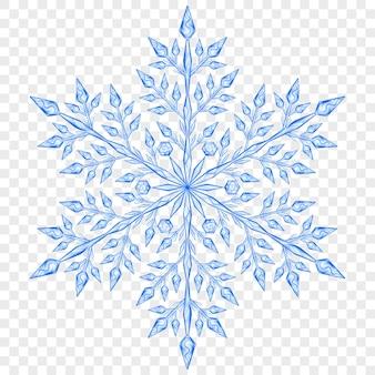 透明な背景に青い色の大きな半透明のクリスマススノーフレーク。ベクターファイルのみの透明度