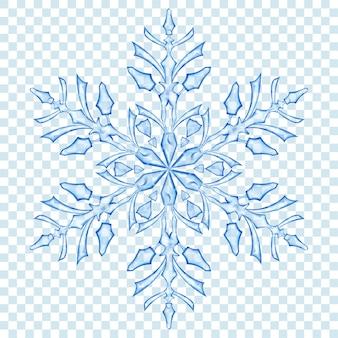 透明な背景に青い色の大きな半透明のクリスマススノーフレーク。ベクトル形式のみの透明度