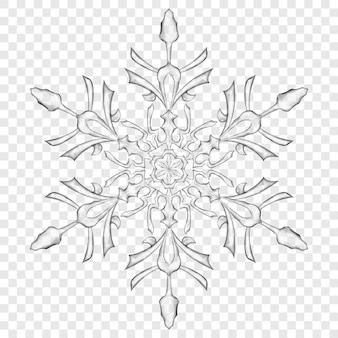 透明な背景に灰色の大きな半透明のクリスマススノーフレーク。ベクトル形式のみの透明度