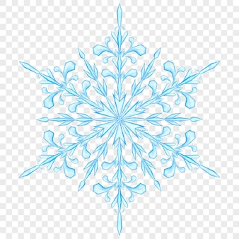 透明な背景に水色の大きな半透明のクリスマススノーフレーク。ベクターファイルのみの透明度