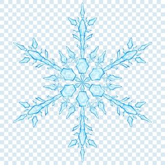 투명 한 배경에 밝은 파란색 색상의 큰 반투명 크리스마스 눈송이. 벡터 형식의 투명도
