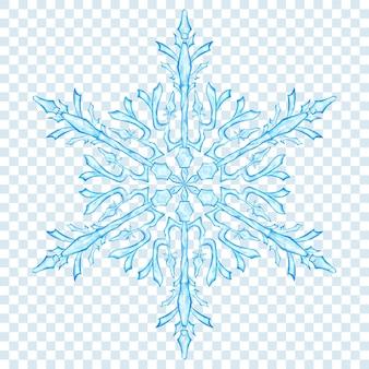 透明な背景に水色の大きな半透明のクリスマススノーフレーク。ベクトル形式のみの透明度
