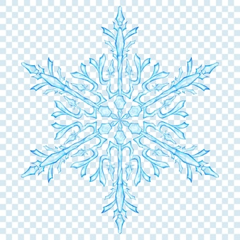 Big translucent christmas snowflake in light blue colors on transparent background. transparency only in vector format
