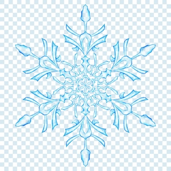 Big translucent christmas snowflake in light blue colors on transparent background
