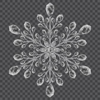 透明な背景に灰色の大きな半透明のクリスタルスノーフレーク。ベクターファイルのみの透明度