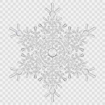 Большая полупрозрачная хрустальная снежинка в серых тонах на прозрачном фоне