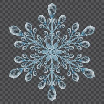 Большая полупрозрачная хрустальная снежинка в голубых тонах на прозрачном фоне