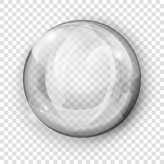 透明な背景にグレアと影のある大きな半透明の灰色の球。ベクトル形式のみの透明度