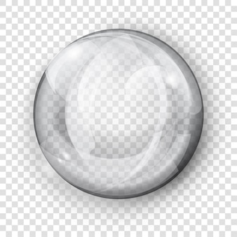 Big translucent gray sphere with glares and shadow on transparent background. transparency only in vector format