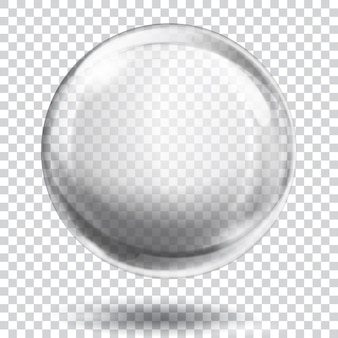 Big translucent gray sphere with glares and shadow on transparent background