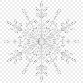 Big translucent snowflake in gray colors on transparent background.  transparency only in vector file