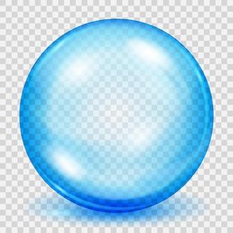 透明な背景に影のある大きな透明な水色の球。ベクターファイルのみの透明度