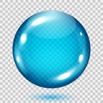 Big transparent light blue sphere with shadow on transparent background