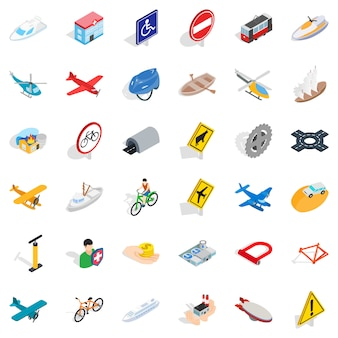 Big transport icons set, isometric style