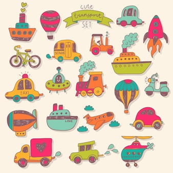 Big transportation icons collection in bright colors