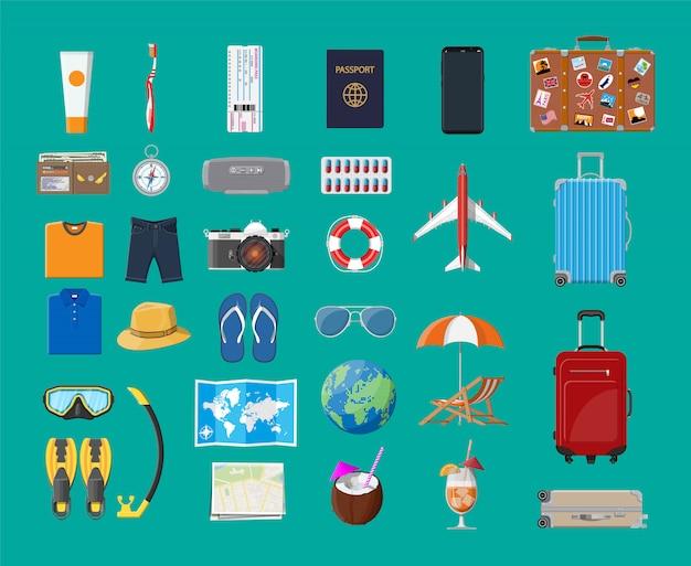 Big travel set. summer holiday, tourism, vacation