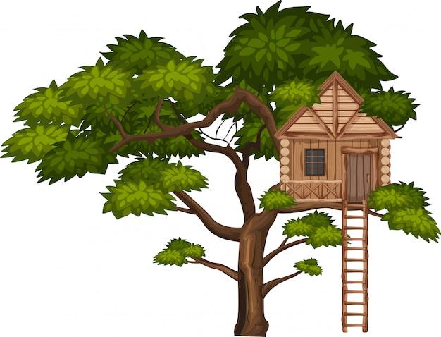 Большое дерево и домик на дереве на белом