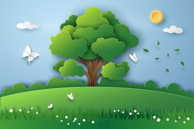 Big tree and butterfly in landscape of green nature with eco energy and environment concept. vector illustration art design in paper cut style.