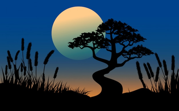 Big tree and grass silhouette with full moon