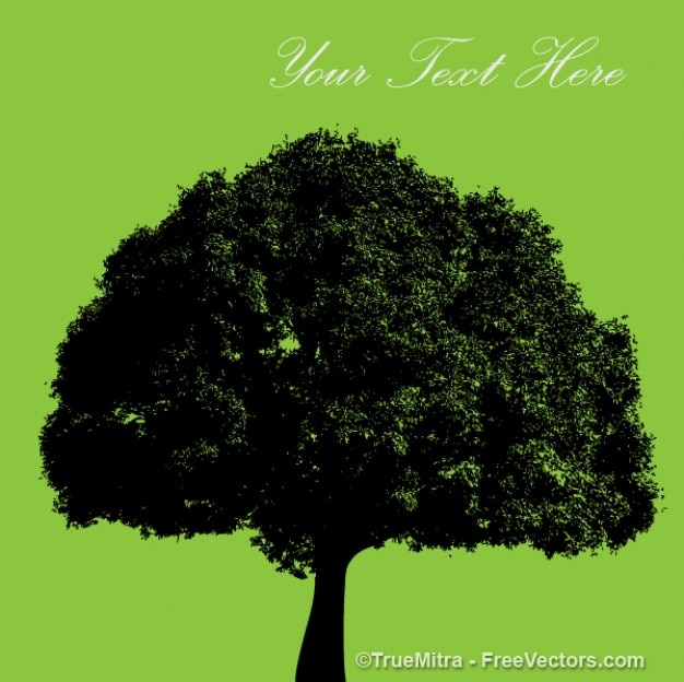 Big tree on green background